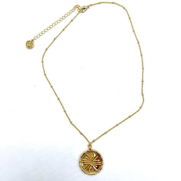 Lilly Pulitzer Disc Pendant Necklace Gold Plated